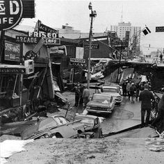 March 1964 - biggest earthquake in North America. Damage to Fourth Avenue, in Anchorage, Alaska, caused by the Good Friday Earthquake. Collapse of Fourth Avenue near C Street due to a landslide caused by the earthquake. Image via Wikimedia Commons. Earthquake Zones, Earthquake And Tsunami, Earthquake Damage, Earthquake Hazards, Earthquake Disaster, Earthquake Kits, 1964 Alaska Earthquake, Nature, Natural Disasters