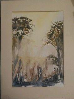 David Lowe original watercolour painting. woodland abstract