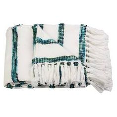 You'll love snuggling into the soft texture of the Striped Throw Blanket in White/Blue from Threshold. This green and white striped blanket has a nubby ball texture for the stripes and tassels on the end.