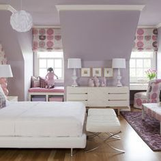 Amazing teen bedroom. Great dusty purple paint colour