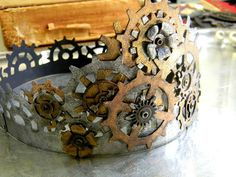 How to Make a Steampunk Crown - using chipboard, paint, and various cutting dies.