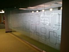 bce43b7537cc Conference Room Privacy with frosted films cut to match corporate logo.