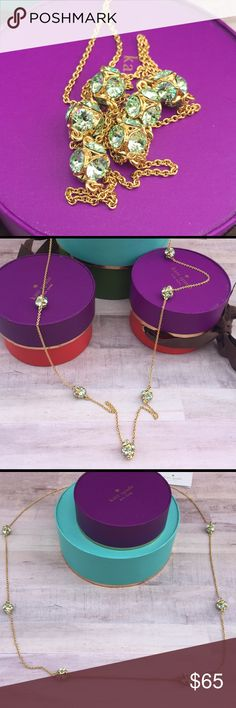 lady marmalade 30 inch green/gold necklace 6 delicate green color baubles adorn this 30 + 3 inch gold tone necklace! Comes gift wrapped with Kate Spades signature brown dust bag! kate spade Jewelry Necklaces
