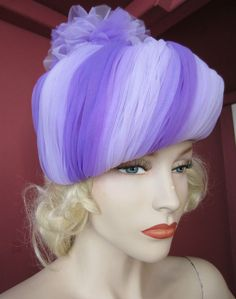 VINTAGE 1960s PURPLE LILAC NET PLEATED TULLE TURBAN CLOCHE STYLE HAT KITSCH