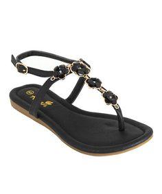 Look at this #zulilyfind! Black Flower Sami Sandal by Anna Shoes #zulilyfinds