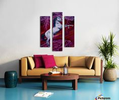 Triptych, Horse, painting, whimsical,sky,equine,equestrian,animal,wild,wildlife,stallion,motion,movement,action,colorful,red,purple,vivid,colors,standing,upright,on two legs,fantasy,fun,fancy,figurative,unique,artistic,beautiful,cool,awesome,decor,contemporary,modern,virtual,deviant,unique,fine,art,oil,wall art,awesome,cool,image,picture,artwork,for sale