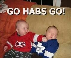 Hockey's NHL rivalry between the Montreal Canadiens and the Toronto Maple Leafs. Montreal Canadiens, Hockey Pictures, Funny Pictures, Hockey Memes, Funny Hockey, Hockey Season, Nhl News, Toronto Maple Leafs, Sports Humor