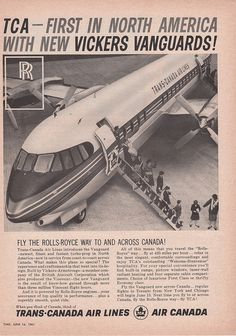 As the file name says. Such a fine and beautiful aircraft, which lost out so heavily to the Caravelle/the flying public's preference for jets in the very early 1960s. Interesting to see that TCA also put their impending new name of Air Canada on the advert too-getting ready for the changeover in 1964.