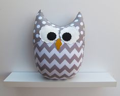 gray and white chevron nursery   Chevron Pillow Large Plush Owl Zig Zag Minky Gray White Nursery Decor
