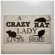 Crazy Rat Lady Lives Here Sign Rustic Wall Plaque or Hanging Home – The Renmy Store