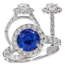 18k cultured 7.5mm round blue sapphire engagement ring with natural diamond halo