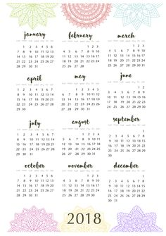 2018 printable year calendar