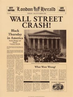 Crowd gathering on Wall Street after the 1929 crash. The Wall Street Crash of also known as the Great Crash Newspaper Front Pages, Vintage Newspaper, Newspaper Article, Vintage Art, Vintage Photos, Us History, History Facts, American History, History Articles