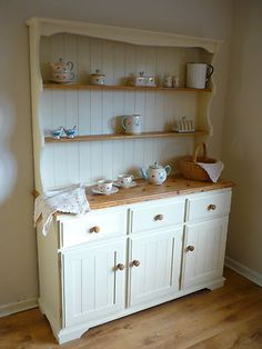 Stunning country chic welsh dresser painted in Farrow & Ball by Hollyblues & Quirkybirds Shabby Chic Welsh Dresser, Shabby Chic Cottage, Shabby Chic Homes, Shabby Chic Furniture, Shabby Chic Decor, Country Furniture, Shabby Chic Kitchen Dresser, Dining Room Dresser, Plywood Furniture