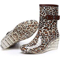cd6c5f82 8 Styles Wedges Rain Boots Women Dot Rainboots Round Toe Buckle Mid Calf  Platform Shoes Women
