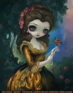 """Belle's Royal Portrait "" Acrylic Painting. ©Disney debuted at Pop Gallery at Downtown Disney in Florida. Prints are $20-$50, and canvases are $95-$195 http://www.strangeling.com/shop/disney-fine-art-prints/princess-belles-royal-portrait/ Next Disney event is July 12-13 WonderGround Gallery Disneyland CA #disney #jasminebecketgriffith #strangeling #popgallery #popgalleryfl #belle #princessbelle #disneyprincess #art #bigeyeart #downtowndisney #dtd #wdw #disneyworld"