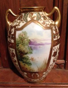 Vintage Moriage Nippon Floral Vase Raised Gold by TheIDconnection, $700.00