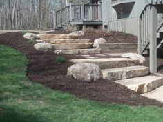 Laughlin Grounds Landscape, Boulder Staircases, Aitkin County, Steps To Lake, Cr… - Modern Lake Landscaping, Landscaping With Boulders, Landscaping Ideas, Mailbox Landscaping, Inexpensive Backyard Ideas, Patio Ideas, Landscape Timbers, Landscape Bricks, Landscape Plans