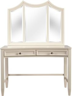 Kids Jaclyn Place Ivory Desk with Vanity Mirror Mirror Room, Dresser With Mirror, Wood Vanity, Vanity Set, Affordable Bedroom Sets, 1980s Bedroom, Study Areas, Desk With Drawers, Beveled Mirror