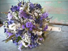 Dried flower Bridal  bouquet with Birch handle in shades of purple and violet.  For your woodland natural wedding.