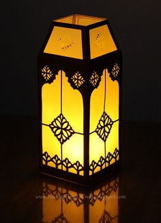 (Prev Pinner)I designed and gave this file to my friend Kelly at Finding Time To Create, who cut and assembled it into a beautiful finished piece! This is how it looks when lit at night! Ramadan Crafts, Ramadan Decorations, School Decorations, Light Decorations, Flower Decorations, Lantern Craft, Candle Lanterns, Paper Lanterns, Silhouette Curio