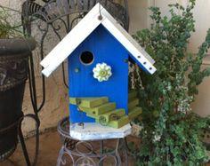 Blue Rustic Birdhouse Functional Birdhouses por BirdhousesByMichele