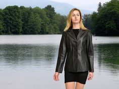 Higgs Leathers  {Up to 50' bust!}  Daisy (ladies Black Leather blazer jackets)