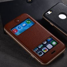 Amazon.com  ZVE® Genuine Leather Case for iPhone 5 5S Fold Stand   Dual  Window Open Cover (Brown-iPhone 6 plus)  Cell Phones   Accessories 4fe7cc03e882a