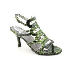 Andiamo Cobra Womens Size 8 Green X Wide Open Toe Strappy Heels Shoes