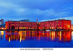 A Digital painting of the Albert Dock in Liverpool UK at night