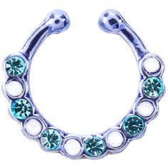 Hot Topic Purple White Opal Aqua Gem Faux Septum Ring ($5.20) ❤ liked on Polyvore featuring jewelry, rings, blue, fake jewelry, white opal rings, blue jewelry, gemstone rings and opal jewelry