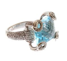 Jewelry : Gucci 18 kt White Gold, Diamond and Blue Topaz Rin | Douglas Rosin Italy 2000