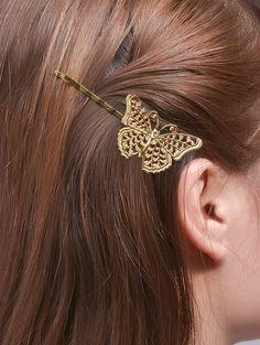 Butterfly Alloy Hair Accessory - GOLDEN