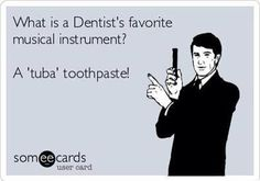 What's a Dentist's favorite musical instrument? From your dental internet marketing company, Smile Savvy. Dental Puns, Dentist Jokes, Dental Quotes, Dental Facts, Dental Hygiene, Dental Humour, Dental Health, Funny Dental Memes, Dental Assistant Humor