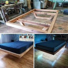 Bed Frame Design, Diy Bed Frame, Bedroom Bed Design, Bedroom Decor, Rustic Bedroom Furniture, Bedroom Shelves, Bedroom Signs, Budget Bedroom, Bedroom Ideas