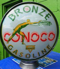 "Conoco Bronze  15"" GLOBE LENSES SIGNS 4 PETROLEUM GAS PUMPS  #Conoco"