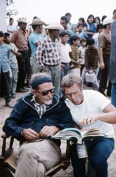 Steve McQueen, Sam Peckinpah | Back set of The Getaway | 1972 | as Doc McCoy