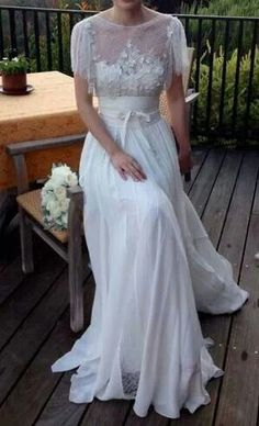 Elie Saab Ivory Chantilly Lace Silk Chiffon and Sequins Lorraine Feminine Wedding Dress Size 0 (XS) off retail - The dress was only worn for a couple of hours on my wedding day – a couple of weeks ago. Wedding Dress Sizes, Bridal Dresses, Wedding Gowns, Lace Wedding, Wedding Ceremony, Elegant Wedding, Summer Wedding, Rustic Wedding, Antique Wedding Dresses