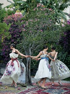 Photo by Peter Lindbergh featuring Dolce & Gabbana's Alta Moda F/W 2012 for Vogue, in the Hotel San Domenico garden in Taormina, Sicily