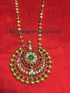 Gold Balls Set with Shanku Chakra Pendant - Jewellery Designs