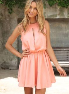 Coral Day Dress - Apricot Sleeveless Dress with Cutout