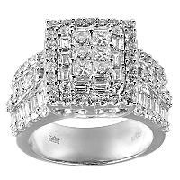 30 CT TW Princess Round and Baguette Diamond Ring in 14K