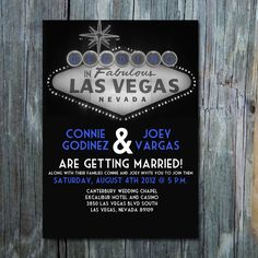 5 x 7 Digital customizable Vegas wedding invitation or bachelorette party invite. $15.00, via Etsy.