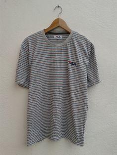 FILA Cross Colors Stripes Embroidered Monogram Vintage 90s Sportswear T-Shirt Size M by BubaGumpBudu on Etsy