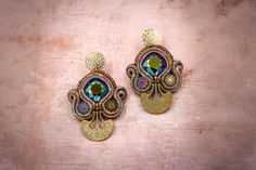 Soutache small earrings with swarovski crystals by nikuske on Etsy Brown Earrings, Lace Earrings, Small Earrings, Crystal Earrings, Soutache Bracelet, Soutache Jewelry, Christmas Gift Inspiration, Earrings Handmade, Handmade Jewelry