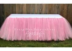 Pink Tulle & Lace Table Skirt, Baby Shower Tulle Table Skirting, Wedding Shower Tulle Table Tutu, Girls First Birthday Table Decor Colors Used: Pink, Light pink and Pink Lace. Tulle Table Skirt, Tutu Table, Lace Table, Table Skirts, 1st Birthday Outfits, Girl First Birthday, Unicorn Birthday, High Chair Tutu, Pink Table
