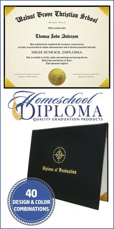 Standard Homeschool High School Diploma - 8.5 x 11 • Customized with your student name, school name & city, and graduation date, the Standard Diploma presents the basic information in an attractive way. Choose from 2 papers, 3 embossed seals and many design options for the diploma cover to create a document worthy of the accomplishment it represents! #highschool #homeschooling #graduation