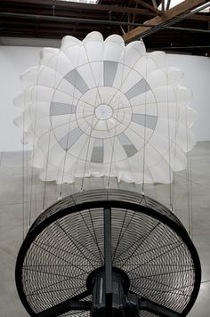 "Carsten Nicolai, ""pionier I"", parachute, wind machine, sound proof paneling; installation dimensions variable; © 2011 Carsten Nicolai /Artists Rights Society (ARS), New York / VG Bild-Kunst, Bonn / Photo by: Arturas Valiauga"