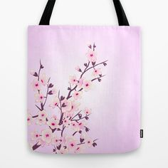 Cherry Blossoms ( pink and white background) Tote Bag #cherry blossoms #totebag #pink #acessories