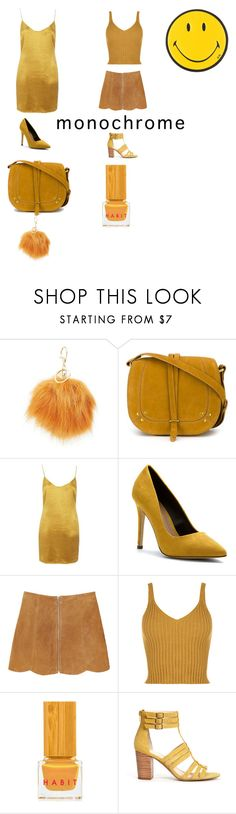 """""""Mustard Monocrome"""" by fyichristine ❤ liked on Polyvore featuring Charlotte Russe, Jérôme Dreyfuss, Glamorous, Call it SPRING, Monki, WearAll, Habit Cosmetics, Sole Society, Anya Hindmarch and monochrome"""